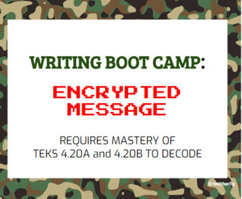4th Grade Writing Boot Camp Encrypted Message Task Cards - TEKS 4.20A and 4.20B
