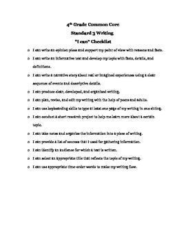 4th Grade Writing Common Core Checklist