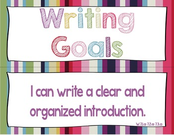 7th Grade Writing Goals Clip Chart