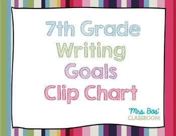 7th Grade Writing Goals Clip Chart