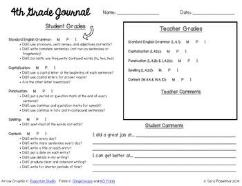 4th Grade Writing Journal Grading Sheet - NEW!