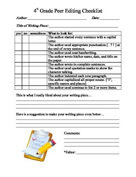 4th Grade Writing ~ Peer Editing Checklist