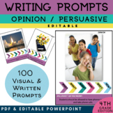 4th Grade Writing Prompt | Persuasive Opinion Writing | PICTURES & EDITABLE TEXT