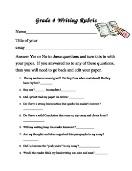 4th Grade Writing Rubric to help students edit and revise their work