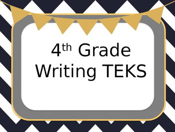 4th Grade Writing TEKS (student expectations SE)