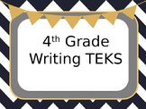 """4th Grade Writing TEKS (student expectations SE) """"I CAN"""" Statements"""