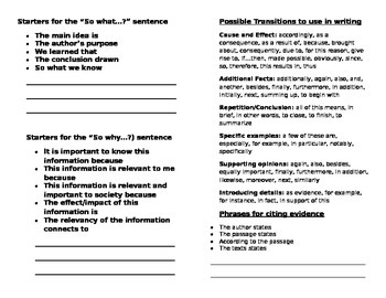4th Grade Writing-Student Handout