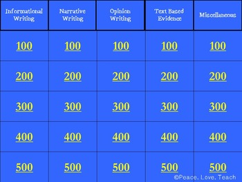 4th Grade Writing Test Prep Jeopardy Game