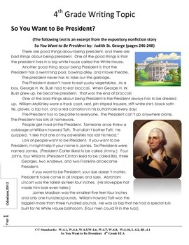 Common Core/PARCC Writing Prompt: So You Want to Be President