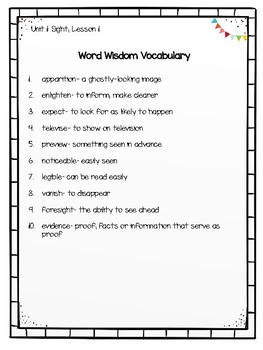 4th Grade Zaner-Bloser Word Wisdom Units 1-9 Vocabulary Word Lists