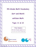 4th Grade enVision Math Topic 11 & 12 Vocabulary Sort and Match