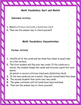 4th Grade enVision Math Topic 13 Vocabulary Sort and Match