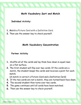 4th Grade enVision Math Topic 14 Vocabulary Sort and Match