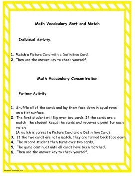 4th Grade enVision Math Topic 16 Vocabulary Sort and Match
