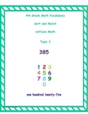 4th Grade enVision Math Topic 3 Vocabulary Sort and Match