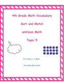 4th Grade enVision Math Topic 5 Vocabulary Sort and Match