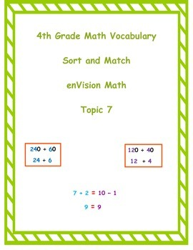 4th Grade enVision Math Topic 7 Vocabulary Sort and Match