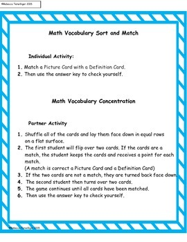 4th Grade enVision Math Topics 1 and 2 Vocabulary Sort and Match