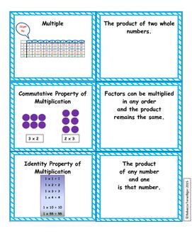 4th Grade enVision Math Vocabulary Sort and Match - Topics 1 - 16