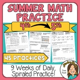4th Grade into 5th Grade Math Summer packet of practice wo
