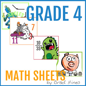 4th Grade math bundle, 9 worksheets, 15+ pages, 375+ problems