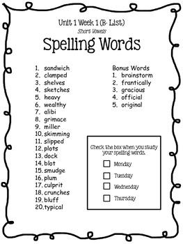 4th Grade McGraw-Hill Wonders Unit 1 Spelling Lists