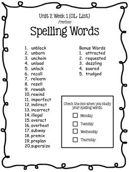 4th Grade McGraw-Hill Wonders Unit 2 Spelling Lists