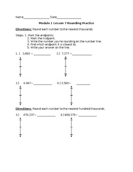 4th Grd. Module 1 Lesson 7 Modified Practice-Rounding with Vertical Number Line