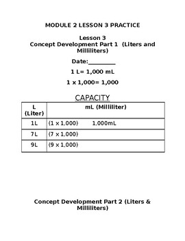 4th Grd. Module 2 Lesson 3 Modified Practice&Hw-Converting units of Measurement