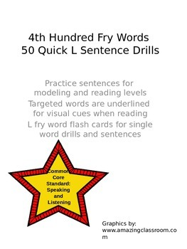4th Hundred Fry Words 50 Quick L Sentence Drills