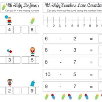 4th July Independence Day Math Worksheets
