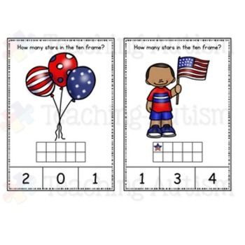 4th July, Independence Day Ten Frame Task Cards
