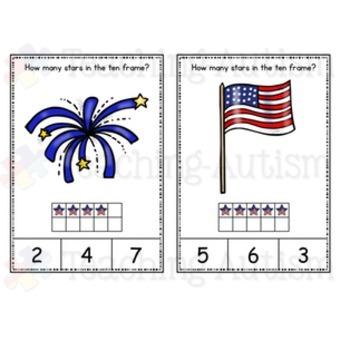 4th July Ten Frame Task Cards