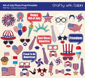 4th July Photo Booth Prop, Patriotic Photo Prop Printable