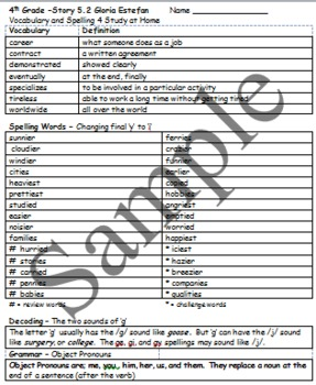 4th Language Arts HM 5.2 Gloria Estephan - Vocab n Spell 4 Home