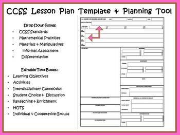 4th Lesson Plan Templates CCSS COMPASS / Danielson Math, R