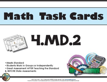 4th - Math Task Cards 4.MD.2 Common Core Aligned