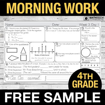 4th Grade Morning Work FREE Sample
