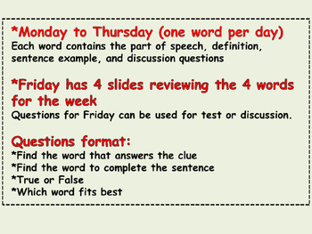 WORD A DAY 4th Nine Weeks Vocabulary Parts of Speech Questions Sentence Examples