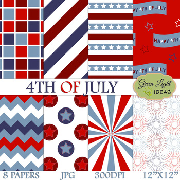 4th Of July Backgrounds / Independence Day Digital Papers