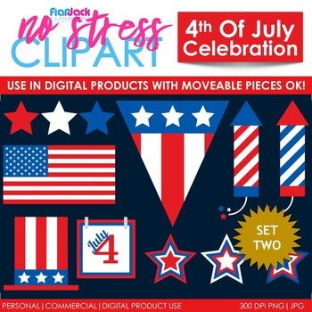 4th Of July Clip Art Set 2 (Digital Use Ok!)