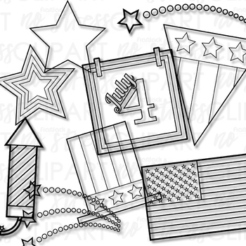 4th Of July Clip Art Set 2 Digital Use Ok By Flapjack Educational