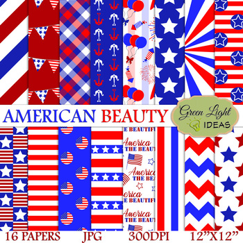 4th Of July Digital Papers / Independence Day Backgrounds