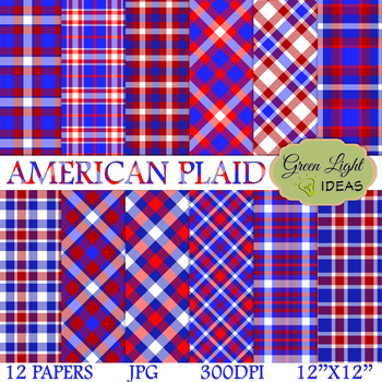 4th Of July Digital Papers / Patriotic Plaid Backgrounds