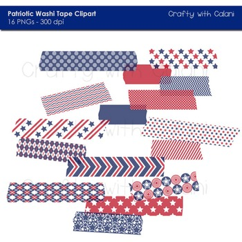 4th Of July Patriotic Themed Washi Tape Digital Clipart - 16 High Res Clipart
