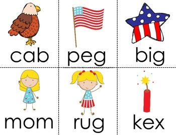 4th Of July Read the Room For CVC Words!  Real & Nonsense Words!