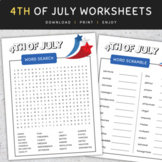 4th Of July Worksheets: Word Search and Word Scramble, Summer Activities