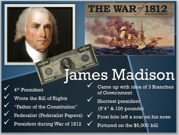 Pres.James Madison PPT:Bill of Rights/Father of Constituti