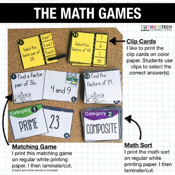 4th - Prime & Composite Numbers, Create Factor Pairs Centers - Math Games