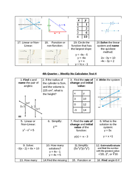 4th Quarter Common Core Spiraled Review No Calculator, PARCC Prep, 8th grade SLO